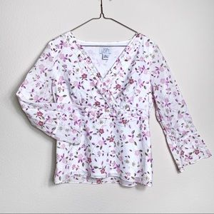 LOFT Floral Bell Sleeves Blouse